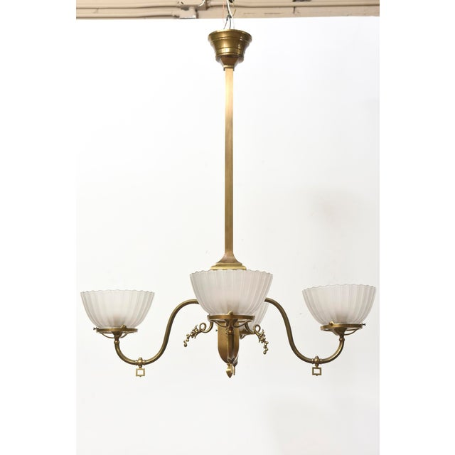 Late 19th Century Four Arm Brass Gas Chandelier For Sale - Image 5 of 11