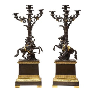 French Restauration Ormolu and Patinated Bronze Candelabra with Horses - a Pair For Sale