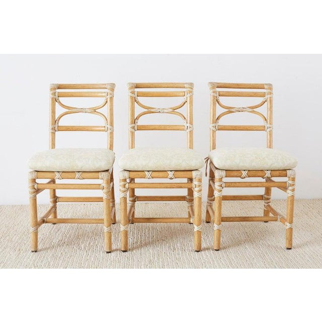 Contemporary McGuire Set of Six Organic Modern Rattan Dining Chairs For Sale - Image 3 of 13