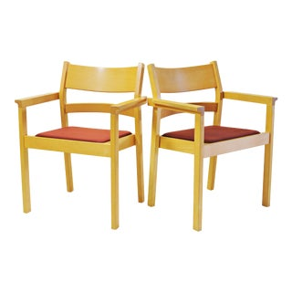 Refinished Hans J. Wegner Armchairs - a Pair For Sale