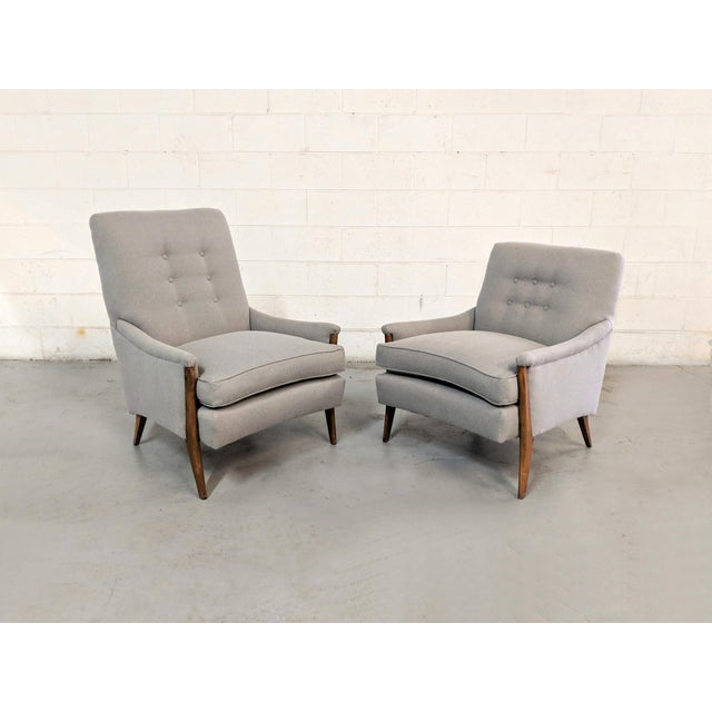 Restored Kroehler Mid-Century Modern Gray Wool Walnut Lounge Chairs - a Pair For Sale - Image 13 of 13