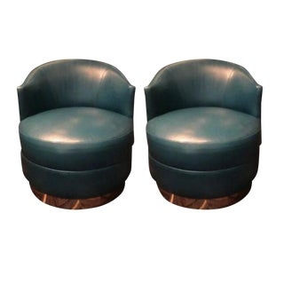 Karl Springer Teal Leather Swivel Tub Chairs - a Pair