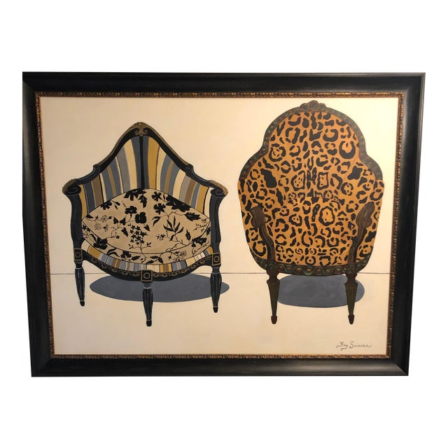 Large Original Painting of Two Antique Chairs For Sale