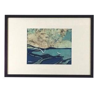 """1972 Louise """"Lou"""" Wilson """"Seagulls"""" Batik Textile Art For Sale"""