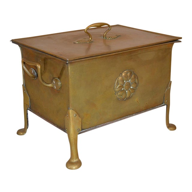 Antique English Arts & Crafts Brass Wood Box For Sale