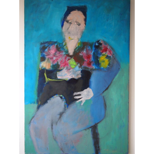 Bright, abstract portrait painting depicting a fancy lady with a floral top by renowned modern artist Charles Li Hidley...