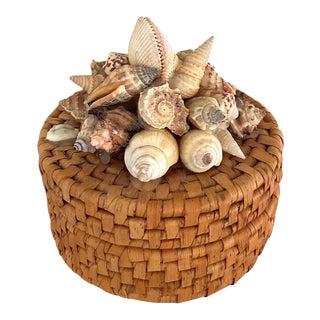 Vintage Round Sea Shell Basket For Sale