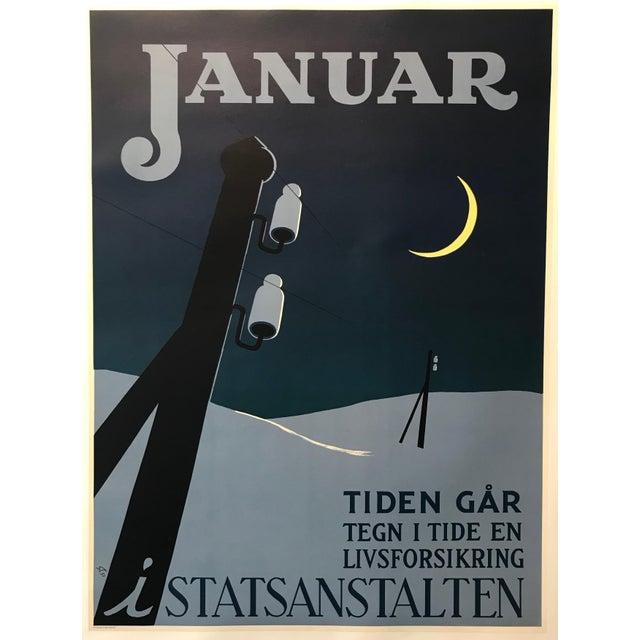 Blue 1951 Original Danish Poster, Januar (The Clock Is Ticking) For Sale - Image 8 of 8