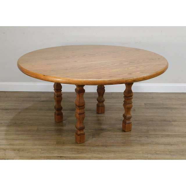 High Quality Vintage Oak Base Table with Faux Wood Grain Round Top with Oak Edge - by Romweber Not Labeled Store Item#: 24320