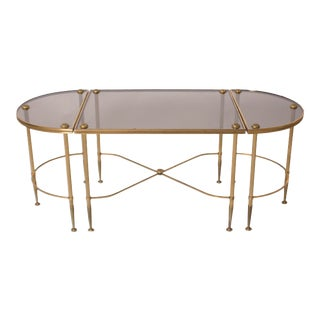 3-Piece Brass and Glass Maison Bagues Coffee Table For Sale