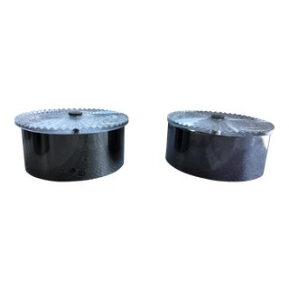 Italian Hand Made Visu Cut Black Nickel Flush Mounts - a Pair For Sale
