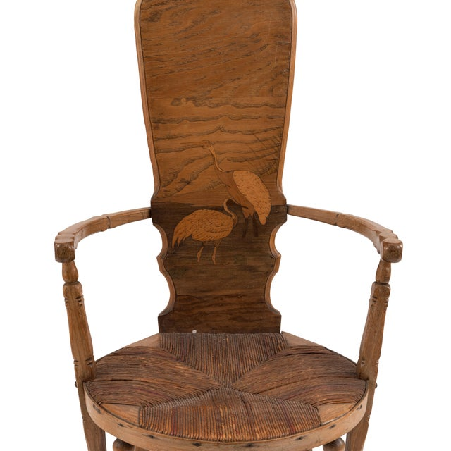 Rustic French Provincial style (19th Cent) high back arm chair with rush seat and inlaid back having a water scene with 2...