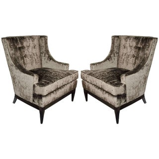 Pair of Mid-Century Modern High/ Button Back Chairs in Smoked Pewter Velvet