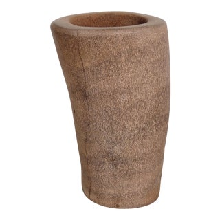 Organic Modern Palm-Wood Umbrella Stand, Vessel or Vase