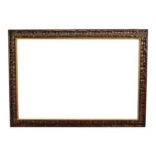 Vintage Large Carved Wood Picture Frame For Sale