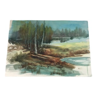 Original Unframed Forest Watercolor Painting For Sale