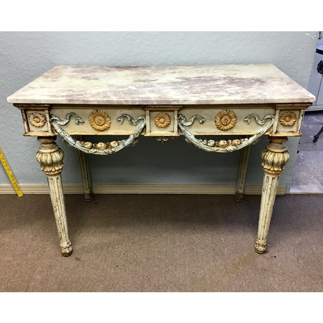 19th Century Italian Marble Top Console Table For Sale - Image 11 of 12