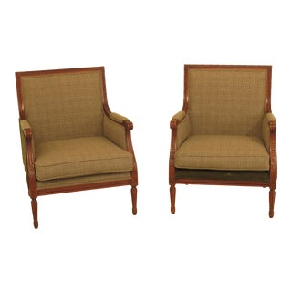 Modern Henredon Ralph Lauren French Louis XV Style Arm Chairs- A Pair For Sale