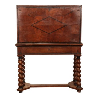 18th Century French Louis XIII Walnut Bargueno Desk With Barley Twist Base