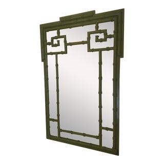 Greek Key Faux Bamboo Mirror For Sale