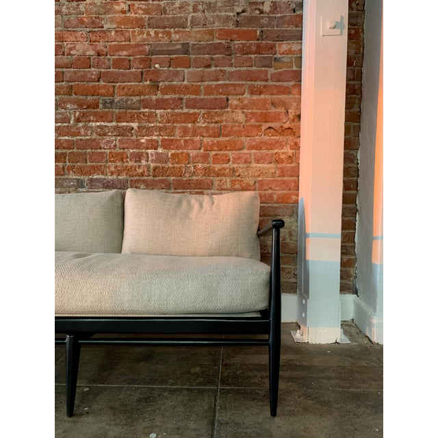 Traditional Danish MCM - Black Wood and Woven Cane Sofa in Belgian Linen For Sale - Image 3 of 7