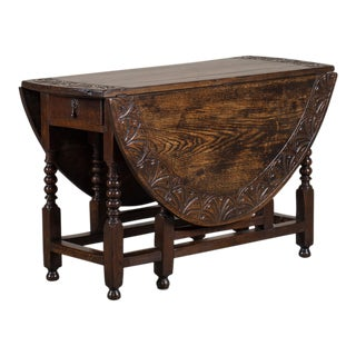Antique English Oak Drop Leaf Table circa 1885