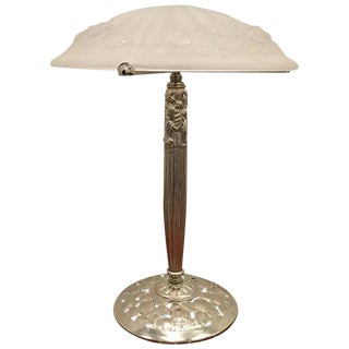 French Art Deco Table Lamp Signed by Degue For Sale
