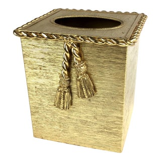 1970s Art Nouveau Gold Plated Stylebuilt Rope Tassel Tissue Box Holder For Sale