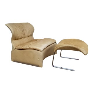 "1970s Italian "" Vela Bassa "" for Saporiti Club Chair and Ottoman For Sale"