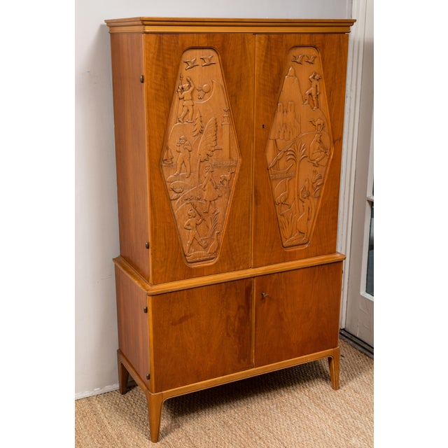 1961 E. Hoglunds Relief Carved Cabinet For Sale - Image 4 of 11