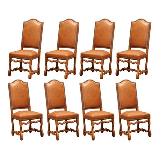19th Century French Carved and Leather Sheep Bone Dining Chairs - Set of 8 For Sale