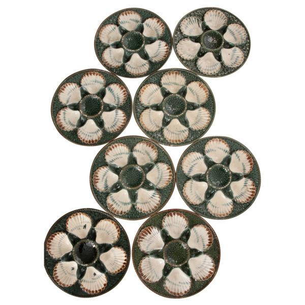 Set of Eight French Barbotine Longchamp Terre De Fer Oyster Plates For Sale - Image 10 of 10