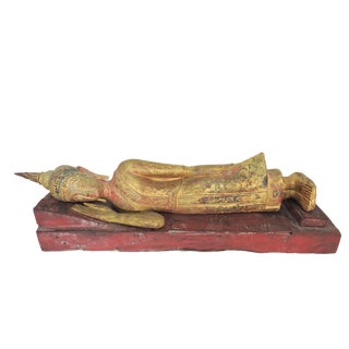Large Antique Reclining U-Thong Gilt Wood Buddha on Red Plinth/Base For Sale