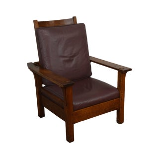 L & J G Stickley Antique Mission Oak Arts & Crafts Morris Chair For Sale