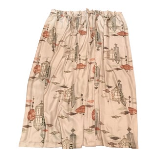 Mid-Century Oriental Silk Lined Drapes -- A Pair
