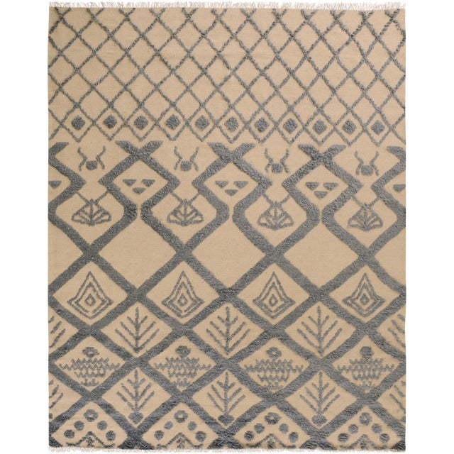 Moroccan High-Low Pile Arya Tammera Ivory/Blue Wool Rug -8'1 X 10'9 For Sale