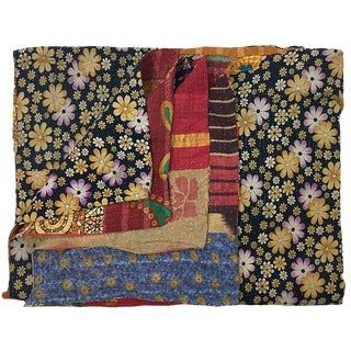 Floral Vintage Kantha Quilt | Quilted Sari Throw For Sale