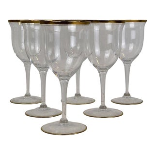 20th Century Art Deco Gold Rim Wine Stems - Set of 6 For Sale