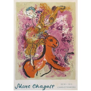 1960 Original Danish Exhibition Poster, Marc Chagall, Charlottenborg, Woman on a Red Horse For Sale