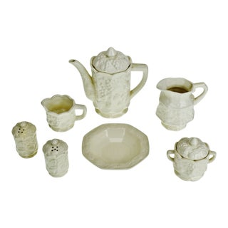Vintage Ceramic Teapot and Serving Accessories - Group of 7 For Sale