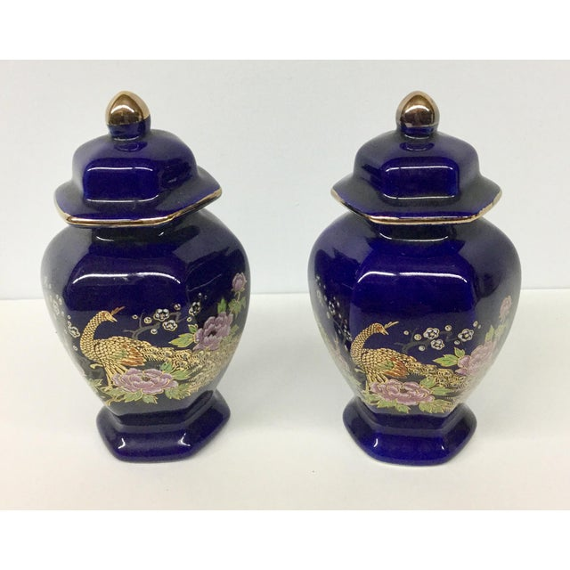 Ceramic Mini Japanese Cobalt Ginger Jars - A Pair For Sale - Image 7 of 11