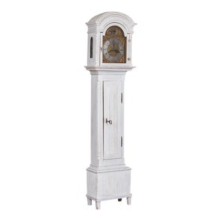 Antique Danish Gray Painted Grandfather Clock For Sale