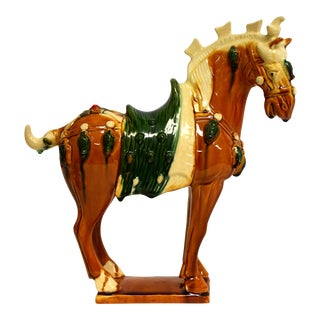 Chinese Pottery Horse San Cai Glazed With Green Saddle For Sale