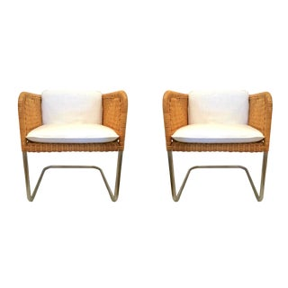 Early 20th Century Vintage Wicker and Chrome Chairs- A Pair For Sale
