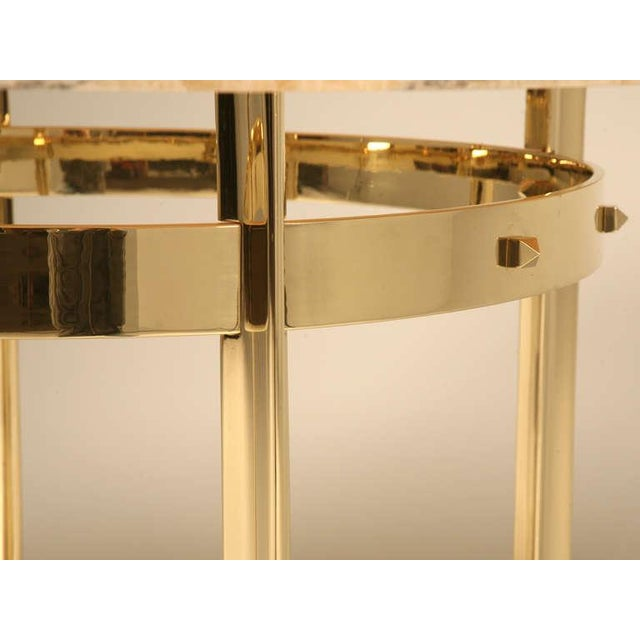 Custom Made Modern Brass & Onyx Dining Table For Sale - Image 10 of 11