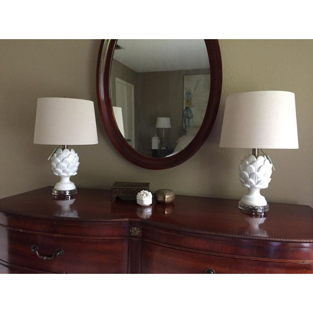 Acrylic Contemporary White Artichoke Table Lamps - a Pair For Sale - Image 7 of 10