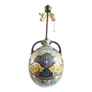 Antique Majolica Monteluce Deruta Sgraffito Lamp For Sale