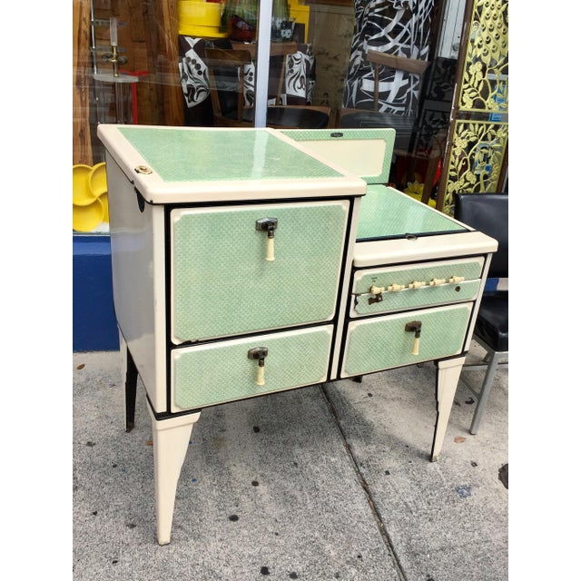 Adorable antique 1930s jadite green, cream & black enameled Art Deco gas stove! This would be charming as a vintage prop,...