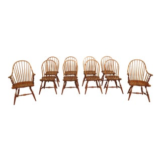 1980s Vintage Stickley Cherry Windsor Dining Room Chairs- Set of 10 For Sale