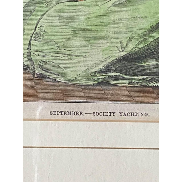 """1861 """"September—Society Yachting"""" Hand Colored Print, Framed For Sale In Tampa - Image 6 of 9"""